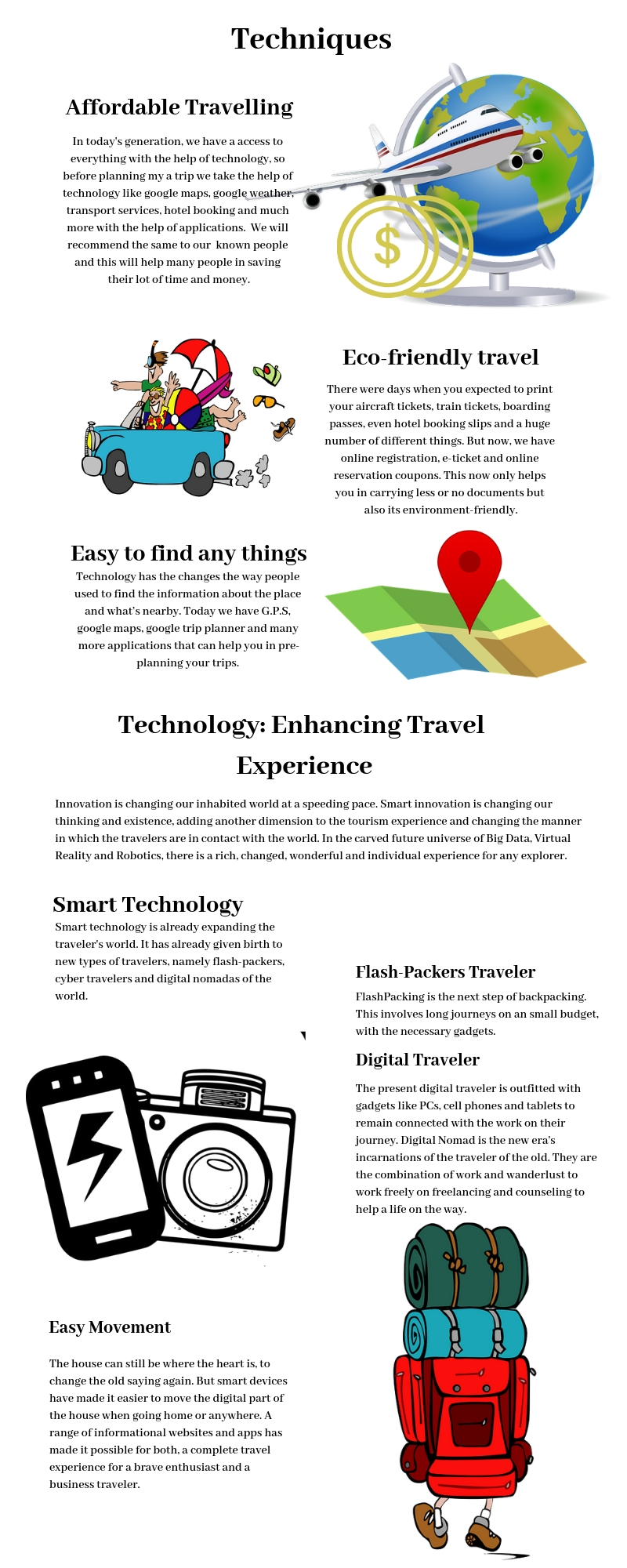 TYPES OF TRAVEL TECHNIQUES